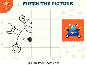 illustration., preschool, vektor, komplet, kopi, boldspil, billede, børn, skole, coloring