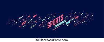 illustration., presentation., manifesto, uso, sport, lattina, essere, sport, vettore, notizie, geometrico, fondo