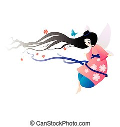 Illustration pretty fairy in a dress with flowers and butterflies