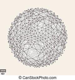 illustration., prickles., astratto, object., sfera, vettore,...