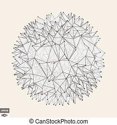 illustration., prickles., résumé, object., sphère, vecteur, géométrique, 3d
