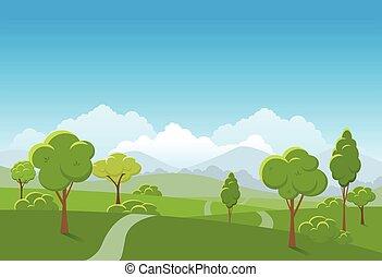illustration., primavera, parco, fondo., vettore, pubblico, paesaggio