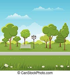 illustration., primavera, parque, experiência., vetorial, público, paisagem