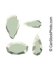 illustration., primitivo, vector, fondo., cultura, edad, aislado, blanco, style., piedra, conjunto, antiguo, plano, herramienta, herramientas