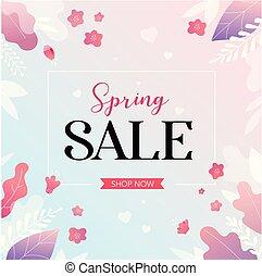 illustration., printemps, withcolorful, vente, flowers., vecteur, fond