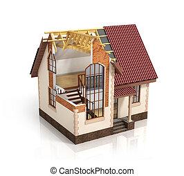 illustration., processo, casa, transizione, costruzione, ...