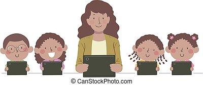 illustration, prof, gosses, tablette, noir
