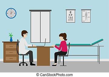 illustration, profession, conception, docteur, patient