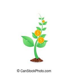 illustration., profit, argent, concept., pièces, arbre, vecteur, croissant, investissement