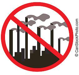 illustration., proibição, chimneys., vetorial, fumaça, fábrica, signs., planta