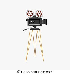 illustration, projector., pellicule, cinéma, appareil photo, vecteur, vendange