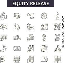 illustration:, propriété, contour, concept, vector., dette, crédit, signes, sortie, ligne, icônes, prêt, argent, eququity, financier, crédit, ensemble, hypothèque, finance
