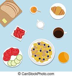 illustration., prospekt., wektor, górny, breakfast.