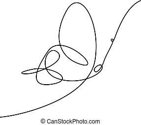 illustration., prosty, ciągły, wektor, kreskówka, butterfly.