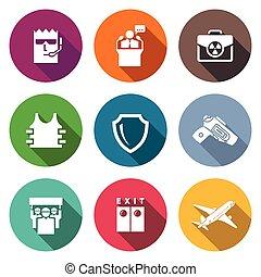 illustration., protezione, icone, nucleare, set., vettore, valigia, presidente