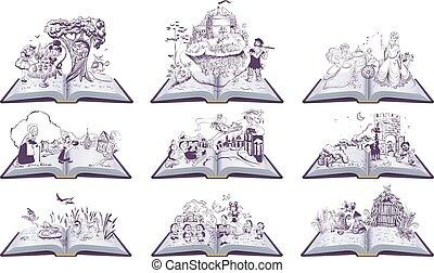 illustration., pueblo, pulgada, libros, tales, abierto, conjunto, hada, bremen, cinderella, reina, nieve, músicos