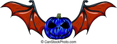 illustration pumpkin face with red bat wings