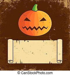 Pumpkin Halloween and paper scroll