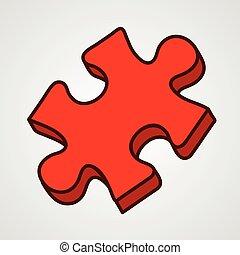 illustration., puzzle, vecteur, icon., morceau, dessin animé