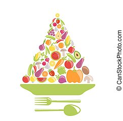 Pyramid of Vegetables and Fruits - Illustration Pyramid of...