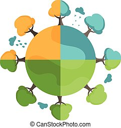 illustration, quatre, vecteur, arbres, la terre, seasons., dessin animé