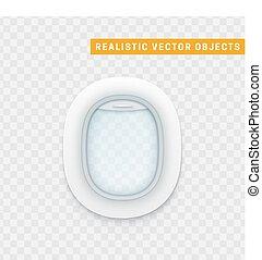 illustration., réaliste, hublots, fenêtre, avion., avion, vecteur, blanc
