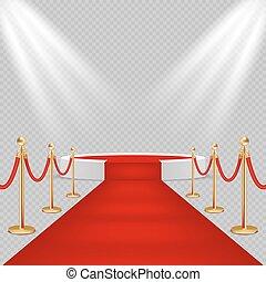illustration, réaliste, podium, vecteur, blanc, rond, moquette rouge