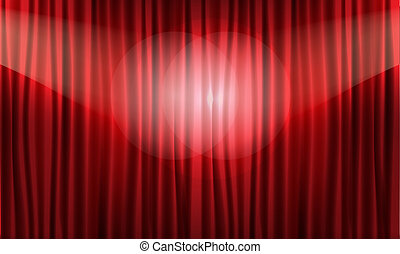 illustration., réaliste, vecteur, fin, curtain., rouges, vue