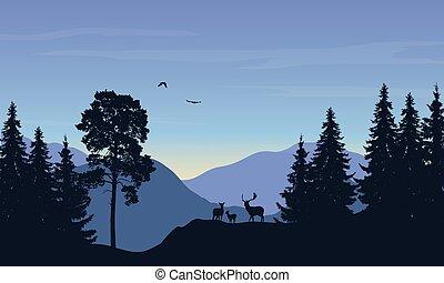 illustration, réaliste, vecteur, forêt, anddeer, paysage