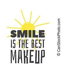 illustration, réel, style, vecteur, art, work., citation, texte, dessiné, encre, makeup., créatif, sourire, aujourd'hui, mieux, positif, soleil, dessin, main, griffonnage, element.