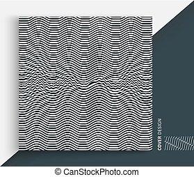 illustration., résumé, blanc, arrière-plan., vecteur, noir, optique, art., rayé, 3d