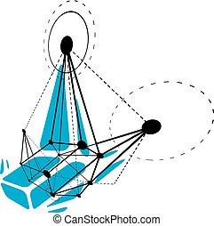 illustration., résumé, wireframe, objet, vecteur, numérique, géométrique, technologie, 3d