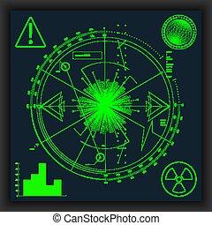 illustration., radar, vecteur, eps10., vert, screen.