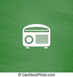 illustration., radios, vector, resurgimiento retro, ...