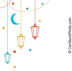 Illustration Ramadan Kareem Background with Colorful Lamps, Crescents and Stars - Vector