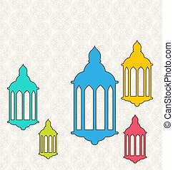 Ramadan Kareem Background with Colorful Lamps (Fanoos)