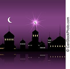 Ramadan Kareem Night Background with Silhouette Mosque and Minarets