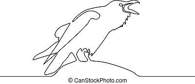 illustration., raven., concept., ciągły, wektor, logo, kreskówka