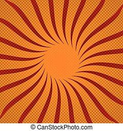 illustration., rayons soleil, halftone, arrière-plan., vecteur, rouges
