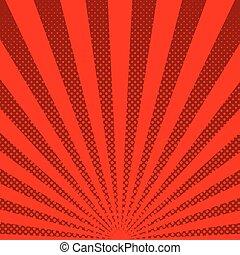 illustration., rayos de sol, halftone, fondo., vector, rojo