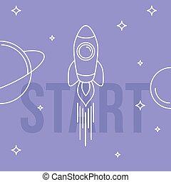 illustration., razzo, spazio, concept., su, inizio, vettore, design., lineare