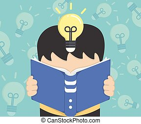 Illustration reading a book
