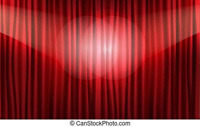illustration., realístico, vetorial, fim, curtain., vermelho, vista