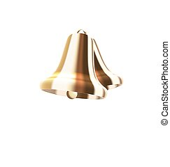 Realistic Golden Bells Isolated on White Background