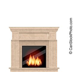Realistic Marble Fireplace with Fire Isolated