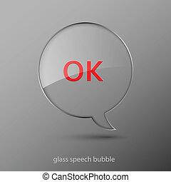 illustration., realistico, bubble., vetro, vettore, discorso