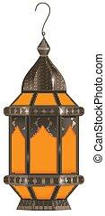 illustration., realistisch, lantaarntje, vrijstaand, ramadan, achtergrond., vector, witte , 3d, kareem