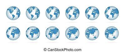 illustration, realistisk, set., blå, kartera, klot, värld, planet, 3