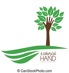 Illustration recycling, hand forming a tree with leaves, helping nature, vector illustration