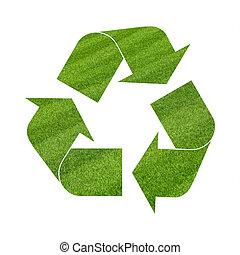 Illustration recycling symbol of green grass